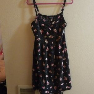 Black polka dot floral dress